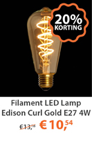 Filament LED lamp eidson Curl Gold